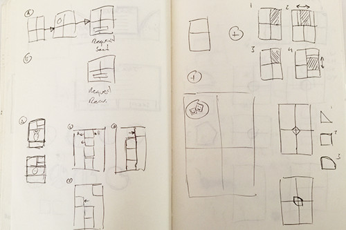 Sketches showing user entrance/exit transitions
